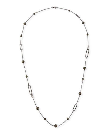 Alexis Bittar Crystal Encrusted Link Necklace w/ Pearls