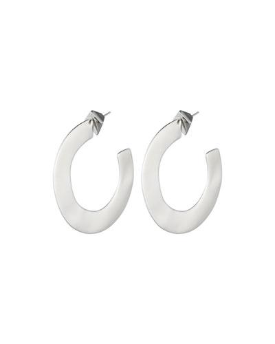 Liquid Metal Orbit Hoop Earrings, Gray