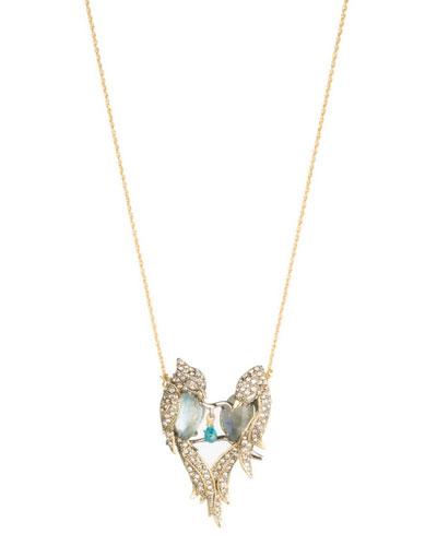 Lovebirds Crystal Encrusted Pendant Necklace