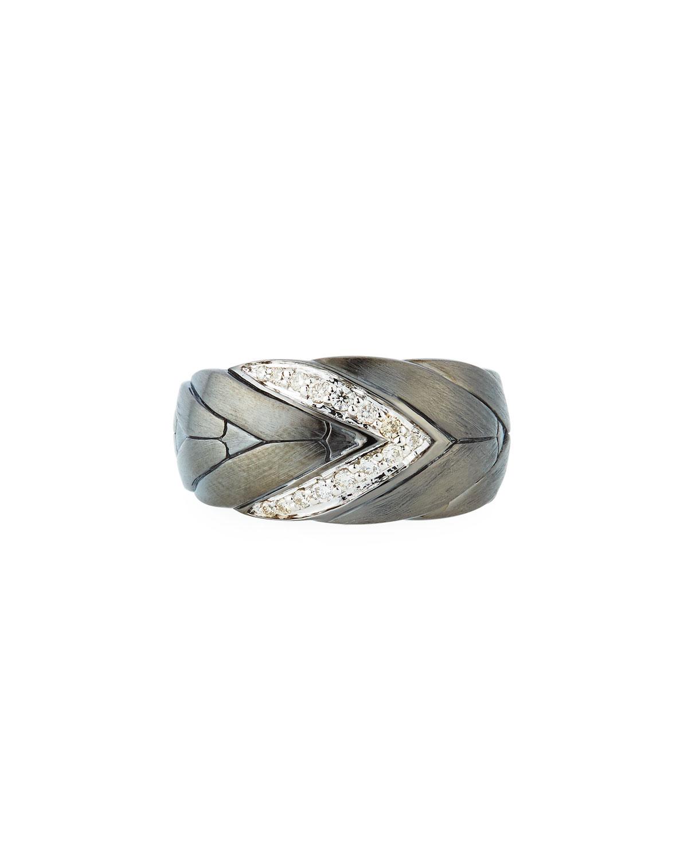 Modern Chain Medium Diamond Ring, Silver/ Diamond/ Black Rhodium