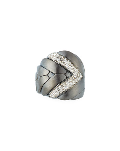 Modern Chain Large Diamond Ring with Brushed Finish