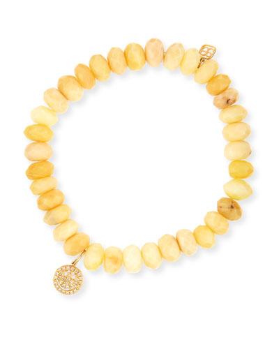Yellow Opal Bead & 14k Happy Face Charm Bracelet