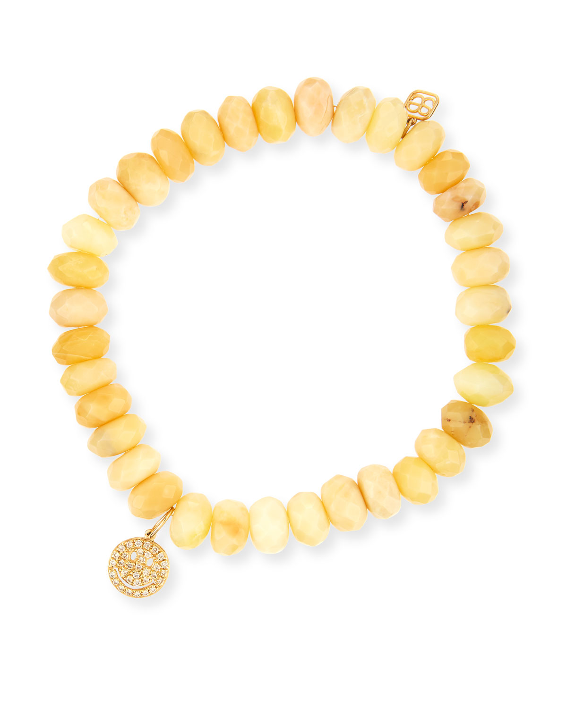 Sydney Evan Amethyst Bead & 14k Monstera Leaf Charm Bracelet nipk3