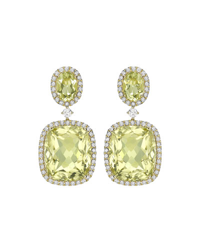 Jamie Wolf Cushion-Cut Green Amethyst Drop Earrings with Diamonds fXiO36py2Y