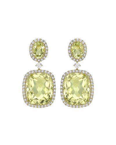 Signature Lemon Quartz & Diamond Drop Earrings