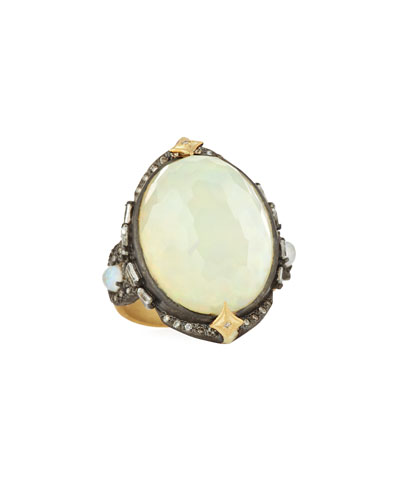 Old World Oval Opal Triplet Ring w/ Diamonds
