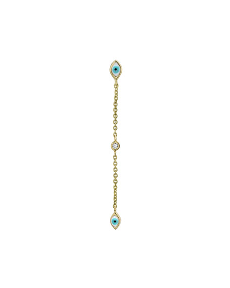 Sydney Evan 14k Gold Linear Enamel Evil Eye Drop Earring