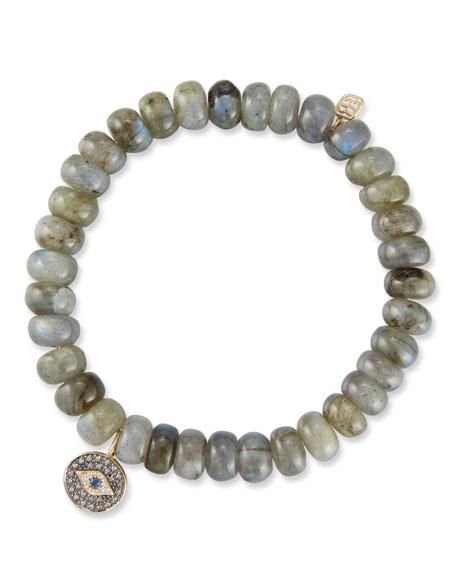 Sydney Evan 14k Rondelle Bracelet w/ Eye Medallion