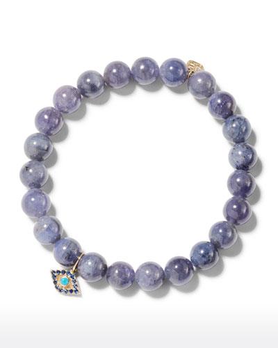Tanzanite Bead Bracelet w/ Turquoise Evil Eye