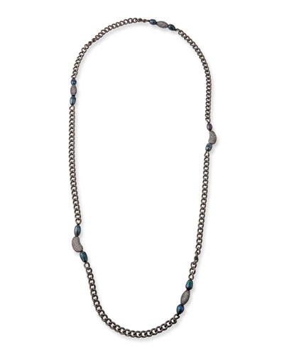 Marly Blue Pearl & Long Chain Necklace