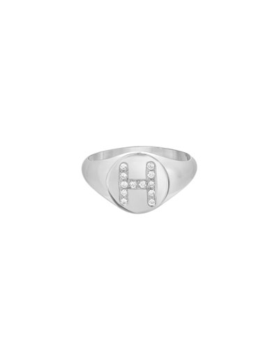Small Personalized Diamond Initial Signet Ring, 14k White Gold