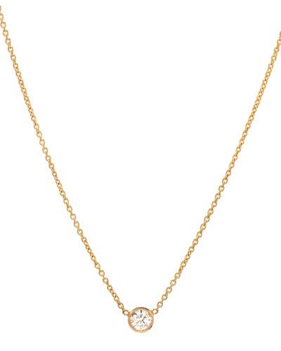 14k Yellow Gold Small Bezel Diamond Necklace