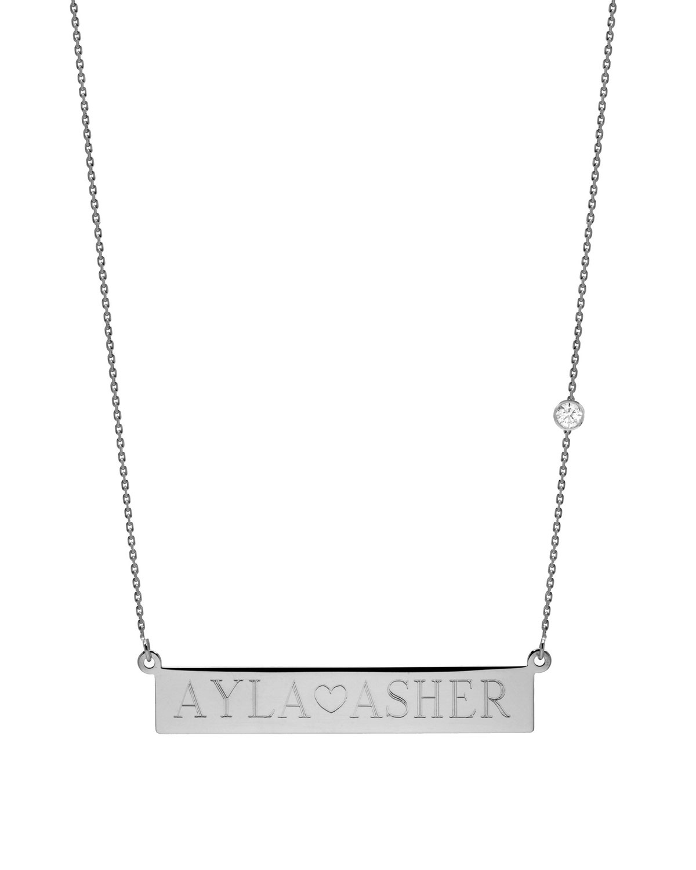 ZOE LEV JEWELRY Personalized Nameplate Necklace W/ Diamond, 14K White Gold in Silver