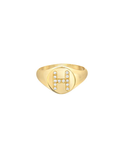 Small Personalized Diamond Initial Signet Ring, 14k Yellow Gold