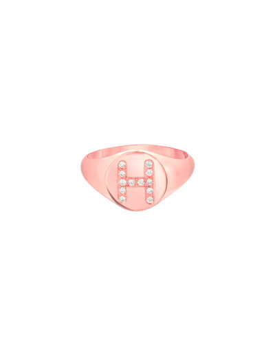Small Personalized Diamond Initial Signet Ring, 14k Rose Gold