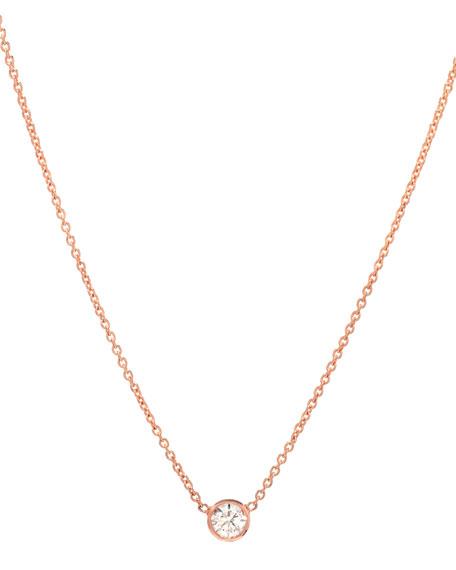 Zoe Lev Jewelry 14k Rose Gold Small Bezel Diamond Necklace