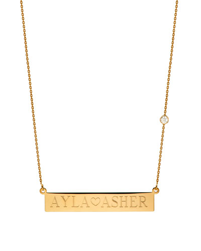 Personalized Nameplate Necklace w/ Diamond, 14k Yellow Gold