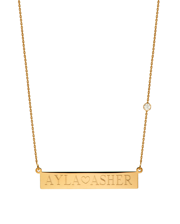 ZOE LEV JEWELRY Personalized Nameplate Necklace W/ Diamond, 14K Yellow Gold