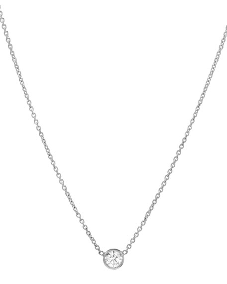 Zoe Lev Jewelry 14k White Gold Small Bezel Diamond Necklace