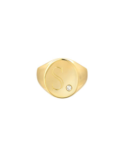 Large Personalized Initial Signet Ring w/ Diamond, 14k Yellow Gold