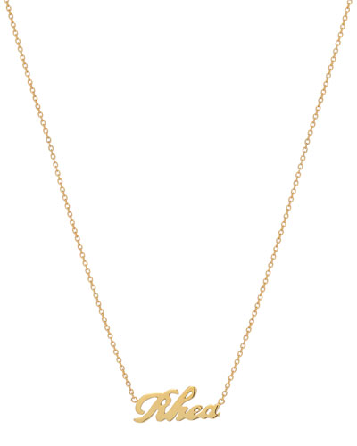 Personalized Script Necklace, 14k Yellow Gold