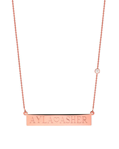0de32e33a8acbe Quick Look. Zoe Lev Jewelry · Personalized Nameplate Necklace w/ Diamond,  14k Rose Gold