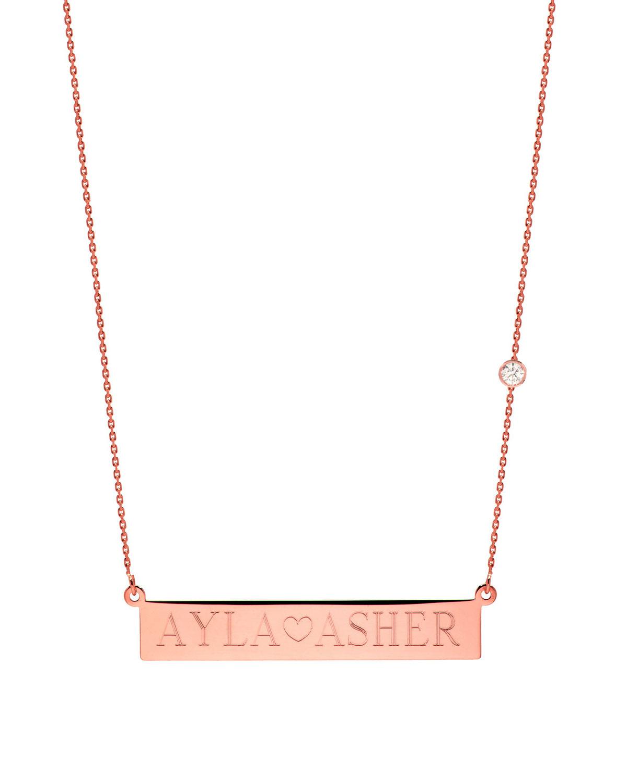 ZOE LEV JEWELRY Personalized Nameplate Necklace W/ Diamond, 14K Rose Gold