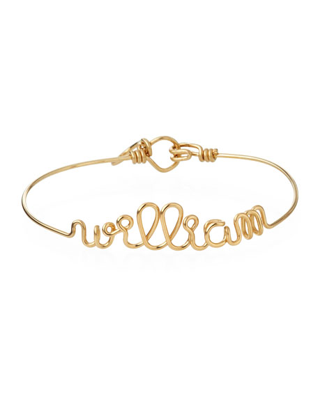 Atelier Paulin Personalized 10-Letter Wire Bracelet, Yellow Gold Fill