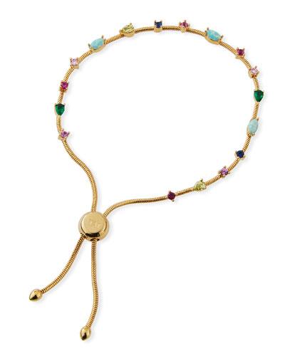 Small Rainbow Cubic Zirconia Slider Bracelet