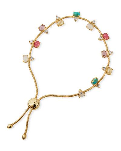 Large Rainbow Cubic Zirconia Slider Bracelet
