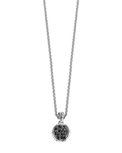 Bamboo Lava Silver Black Sapphire Pendant Necklace