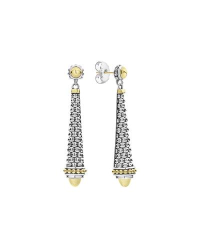 Silver & 18k Gold Caviar Drop Earrings, 2