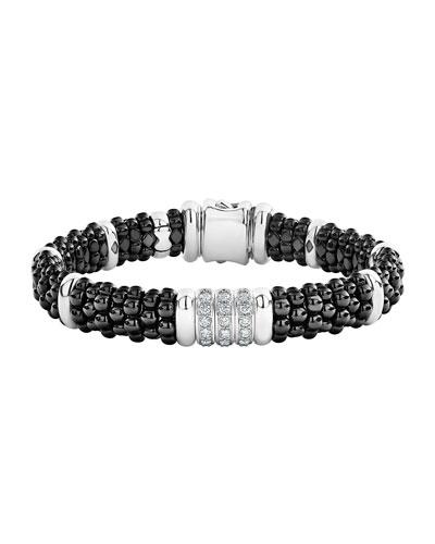 Black Caviar Diamond 3-Link Bracelet, 9mm