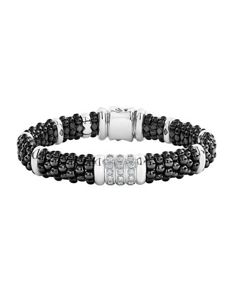 Lagos Black Caviar Diamond 3-Link Bracelet, 9mm