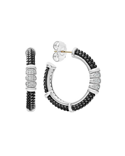Black Caviar Diamond Hoop Earrings