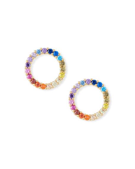 Tai Rainbow Pave Circle Stud Earrings