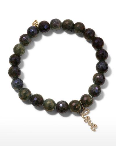 Coated Labradorite Bead Bracelet w/ Love Charm