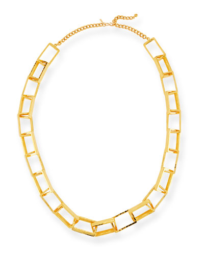 Long Gold-Plated Box Chain Necklace