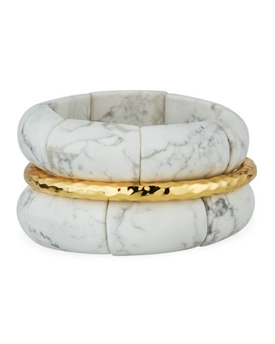 Howlite & Golden Bracelets, Set of 3