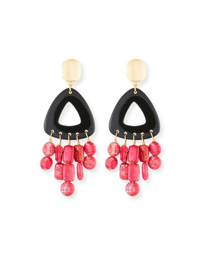 Black Horn Statement Dangle Earrings w/ Jasper