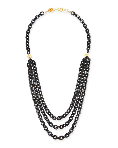 Multi-Strand Necklace w/ Black Horn, 38