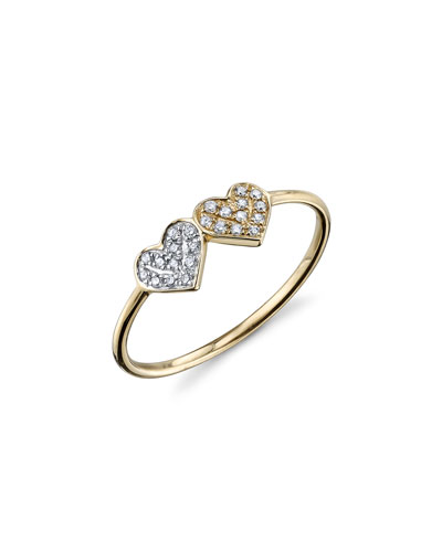 14k 2-Tone Gold Double Diamond Heart Ring