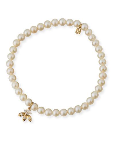 14k Pearl & Diamond Flower Bracelet