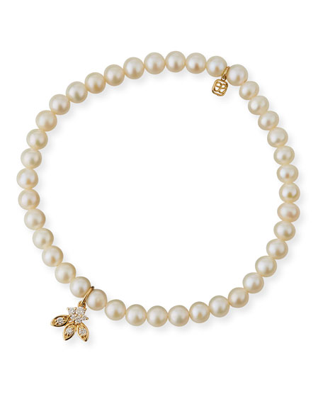 Sydney Evan 14k Pearl & Diamond Flower Bracelet