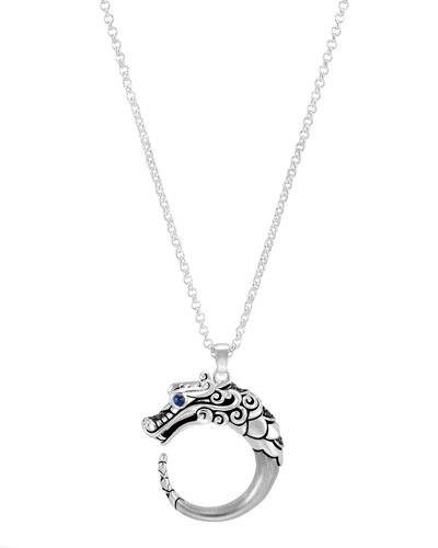 Legends Naga Silver Brushed Dragon Pendant Necklace