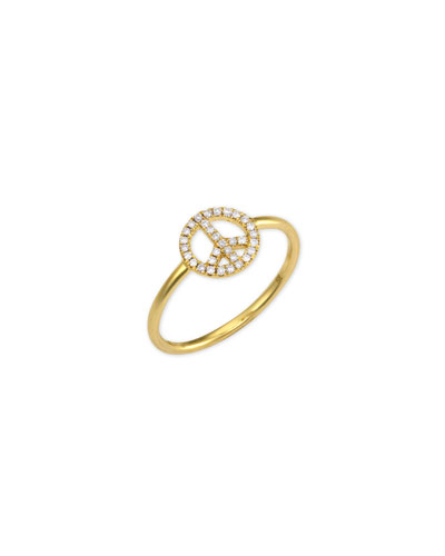 14k Gold Diamond Peace Sign Ring, size 6.5