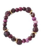 Akola Multihued Jade, Bone & Glass Bead Bracelet