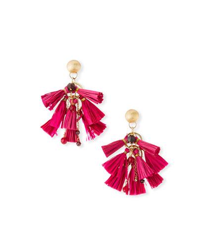 Raffia & Bead Tassel Statement Earrings, Pink