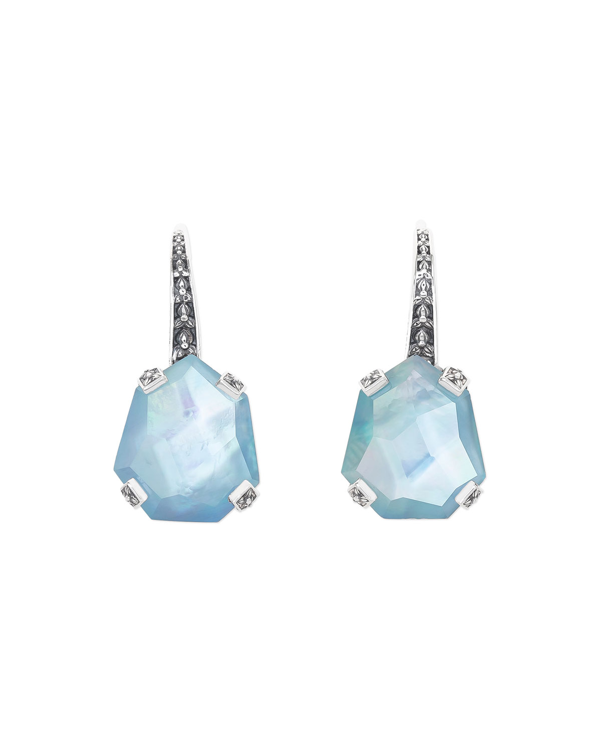 Galactical Freeform Triplet Earrings, Blue