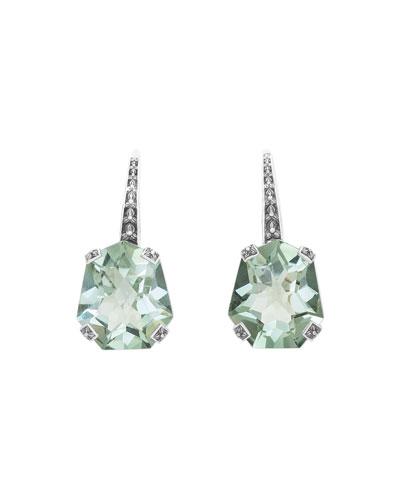 Galactical Freeform Amethyst Earrings, Green
